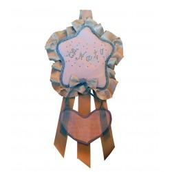 Fiocco Nascita Stellina Azzurra Grande Creato artigianalmente a mano
