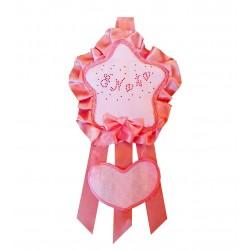 Fiocco Nascita Stellina Rosa Grande Creato artigianalmente a mano