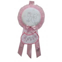 Fiocco Nascita Tondo Rosa Grande Creato artigianalmente a mano